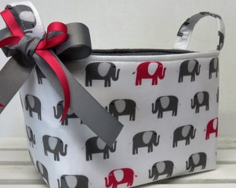 Storage and Organization  - Dark Pink and Gray Elephants on White - Fabric Organizer Bin Storage Container Basket