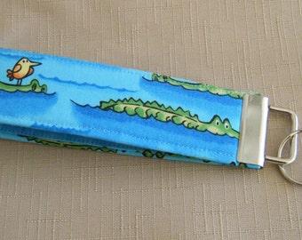 Key Fob wristlet - Gators on blue