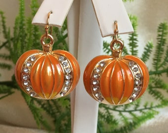 Pretty Halloween/Thanksgiving Holiday Pumpkin pierced Earrings with Swarovski Crystals, Gifts for Her