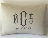 Wedding Date Monogram Pillow Cover 12 x 16. Modern Bridal Gift. Farmhouse Decor. Rustic Barn Wedding. Cottage Chic Gift. Personalized.