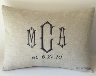 Wedding Date Monogram Pillow Cover 12 x 16. Bridal Gift. Duke font. Farmhouse Decor. Rustic Barn Wedding. Cottage Chic. Personalized.
