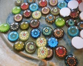 50 c Mixed Grab Bag Geometric Glass Cabochon findings DIY Assemblage Art Jewelry Making Supplies 10 mm