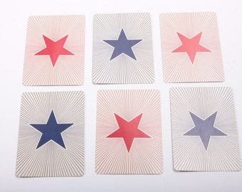Set of Five Star Burst Playing Cards - Scrap Booking - Ephemera - Die Cuts Red White and Blue