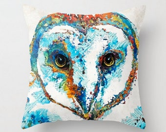 Throw Pillow Colorful Owl Art COVER Design Home Sofa Bed Chair Couch Decor Artsy Decorating Cabin Living Room Bedroom Barn Bird Smart Animal