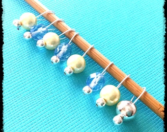 Snag Free Stitch Markers Extra Small Set of 8-- Blue and Yellow Czech Glass -- J20 -- For up to size US 4 (3.5mm) Knitting Needles