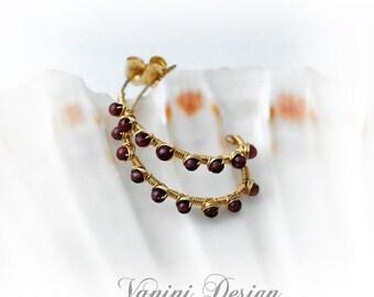 Elegant 14k gold fill,garnet half hoop earrings