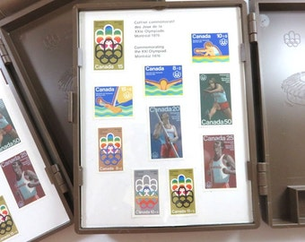 SJK Vintage -- 1976 Montreal Olympic Games, Olympiad, Souvenir Stamp Case With Collector Stamps, Mail Desk Accessory (1970's)
