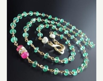 ON SALE 15% OFF Custom Made to Order - 14k Gold Emerald Necklace with Diamond,  Red Spinel, and Saltwater Pearl Accents