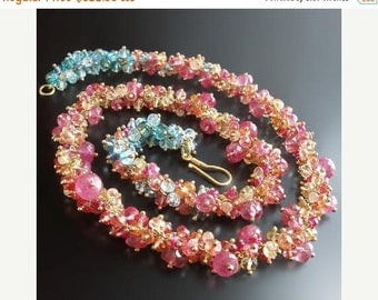 ON SALE  25% OFF 18k Sapphire and Topaz Necklace