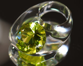 Clear resin ring with large Zirconia, Peridot Zirconia Ring., Resin Jewelry