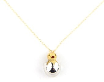 Which Came First? - Vintage Baby Chick and Egg Pin Necklace