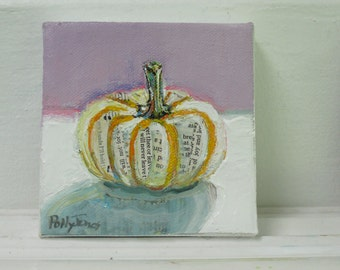 Comfort Pumpkin original still life fall painting by Polly Jones