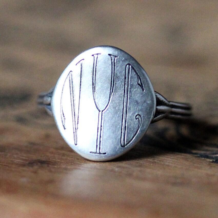 silver monogram ring silver initial ring monogram ring