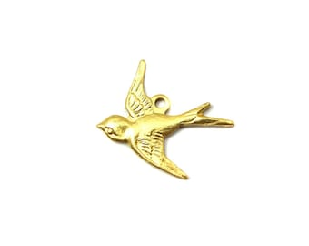 Brass Sparrow Bird Charms - Left Facing 4X) (M823-A)