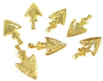 Vintage Gold Plated Arrowhead Pendants with a Bail (2X) (V324)