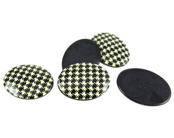 Vintage Black and Gold Houndstooth Cabochons (2X) (CB510)