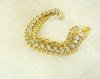 Gold tone rhinestone bracelet, gold chain bracelet, DIY bridal supplies, bridesmaid jewelry, party favor