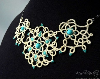 "Lace necklace ""Art Nouveau"" cream tatting with aqua beads mixed media fiber art jewelry"