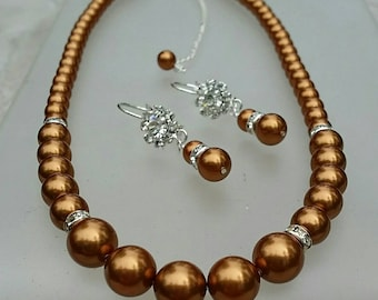 Swaorvski Copper Pearl Set