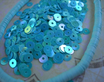 Vintage Couture Sequins Full Strand AQUA Blue Sky AB full strand Flat 4mm