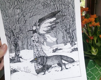 """Winter Fantasy - Fits 11""""X 14"""" Mat - Limited Edition Giclee Print - Winged Enchantress Wolf """"One Kind Word"""" Black Bird - Black and White Art"""