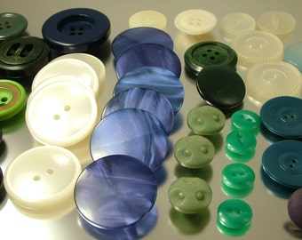 Collection of vintage/ estate 1940s and later blue and green buttons - plastic, metal - dress making sewing