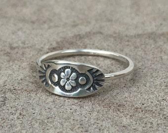 stacking rings - sterling silver rings - tribal rings - flower ring - custom made ring - unique ring - boho ring - bohemian ring