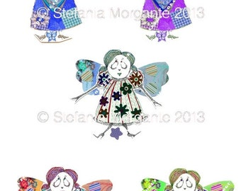 on sale 5 angels-heart and flowers-DIY paper digital sheet printable-scrapbooking-download and print-300 DPI