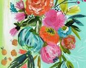 Bohemian floral art print by Bari J Boho art wedding bouquet Gypsy floral