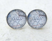 Queens Map Cufflinks - Vintage New York Map featuring Astoria Cufflink Set - Great gift for dad for fathers day or groomsmen gift