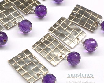 Handmade Nickel Silver Earring Components with Faceted Amethyst Gemstones - 2 pieces EC272