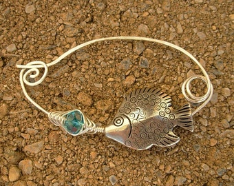 Silver Tropical Fish Shawl Pin Hand Wrapped Fibula Shawl Pin