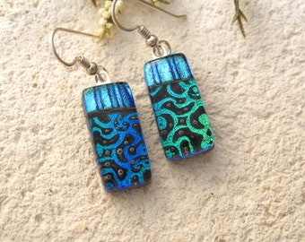 Petite Green & Blue Dangle Earrings, Dichroic Earrings, Fused Glass Jewelry, Glass Earrings, Dichroic Jewelry, Sterling Silver, 042716e100
