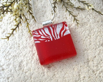 Red & Silver Necklace, Dichroic Jewelry, Dichroic Glass Necklace, Red Necklace, Fused Glass Jewelry, Silver Chain, Red Jewelry,  061516p100