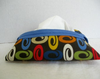 Modern Tissue Holder - Ovals Tissue Cozy - Earth Tones - Fabric Tissue Case - Purse Tissue Cover - Modern Ovals