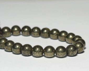 Pyrite Wrist Mala, 21 Beads, 8mm, Solar Plexus, 3rd Chakra, Tibetan Buddhist, Short Mala, Adjustable, Prayer Beads, Metallic, For Men