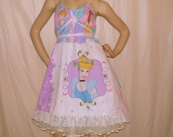 Disney Princess Dress Sundress Pink Hippie Pocahontas Belle Snow White Cinderella Hi Low Hem Lace Cruise Resort Sundress S M L XL Adult