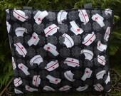 Nurse tote bag, Nurse knitting tote bag,  Nurse's Caps,  The medium Fleur wide