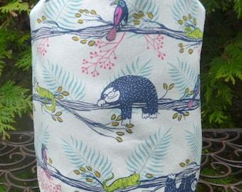Sloth drawstring bag knitting project bag, stuff sack, knitting project bag, Suebee