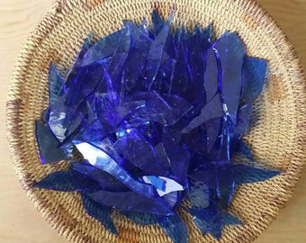 Royal Blue Glass Shards for Mosaic Art Crafting