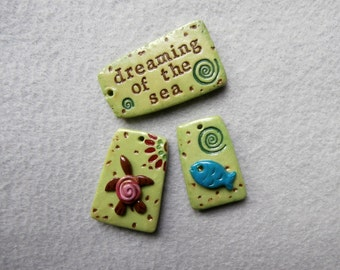 Ocean Theme Beads/Charms, Turtle, Fish - Set of 3 - Dreaming of the Sea
