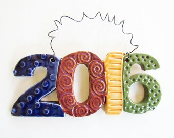 FUN 2016 Ornament - ceramic clay - handmade - ready to mail