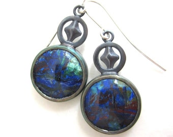 Azurite and Malachite cabochon sterling silver earrings, blue circular earrings, diamond shape design, red green and blue earrings