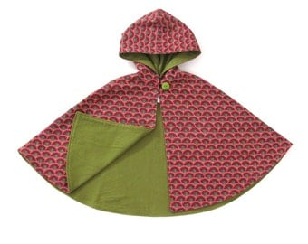 Girls' Cape, India Star Pink & Maroon Girls' Cape, Baby Cape, Toddler Cape, Hooded Cape, Girls' Capelet, Pink Cape, Sizes Newborn to 9/10