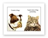 Bulldog Hug Card
