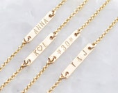 Engraved Tiny Bar Necklace - small gold bar - personalized delicate gold necklace - minimalist jewelry - Engraved Gold Dash necklace