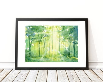 """Forest Rays - Watercolor Print - Wall Art - Home Decor - Forest Art - Landscape - Nature - Sizes 5""""x7""""- 32""""x40"""""""