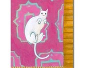ORIGINAL acrylic painting WHITE cat on a Pink Persian Rug cat folk art painting one of a kind by Tascha 8x6