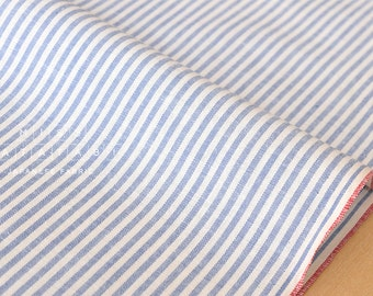 Japanese Fabric - yarn dyed selvedge cotton stripes - light blue - 50cm