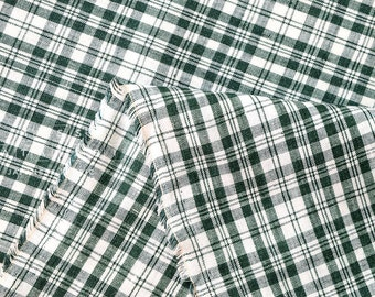 Japanese Fabric 100% linen plaid - forest green -  50cm